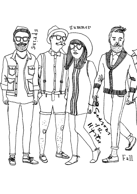 page from the hipster colouring book click to enlarge - Hipster Coloring Book